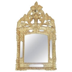 18th Century French Giltwood  Mirror from Provence with Grape and Rose Motif