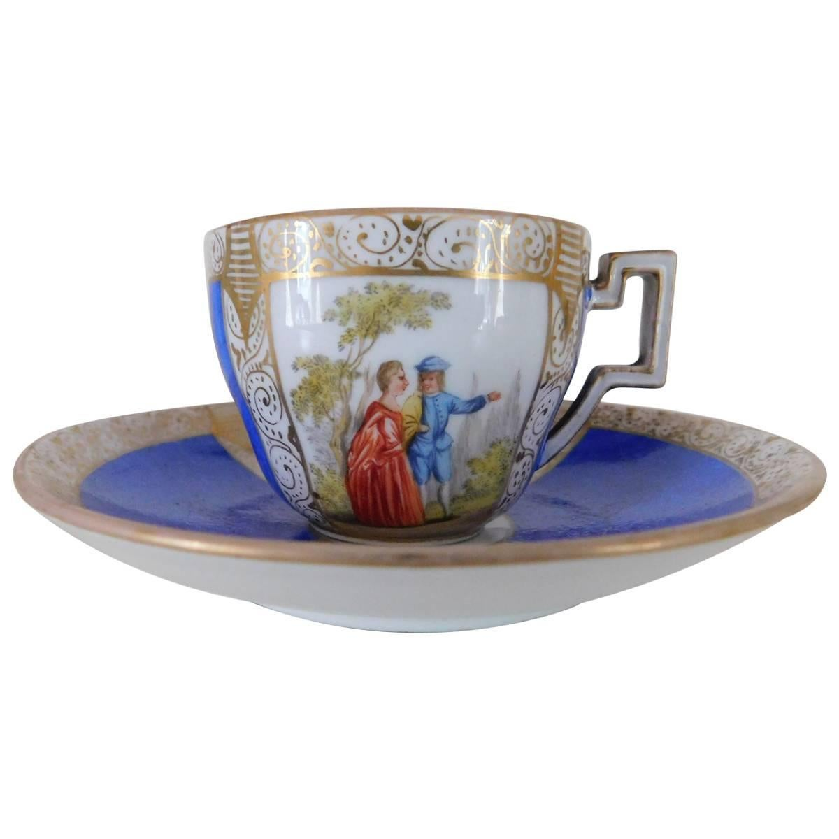 19th Century Meissen Porcelain Cup and Saucer