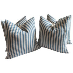 Vintage Blue and White Ticking Pillows, Pair