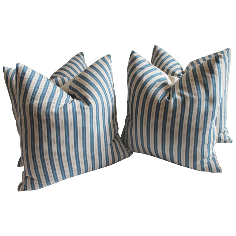 Vintage Blue and White Ticking Pillows, Pair 1