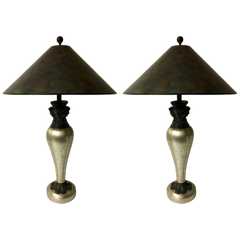 Pair of Egyptian Style Table Lamps with Bronze Accents by Maitland Smith