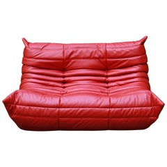 Red Leather Two-Seat Togo Sofa by Michel Ducaroy for Ligne Roset