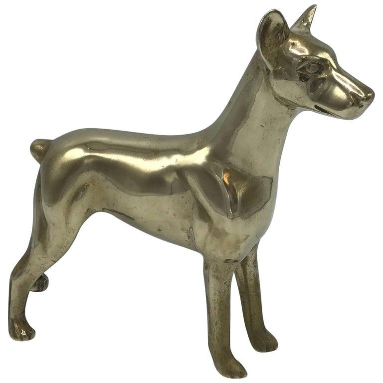 1960s Brass Doberman Dog Sculpture