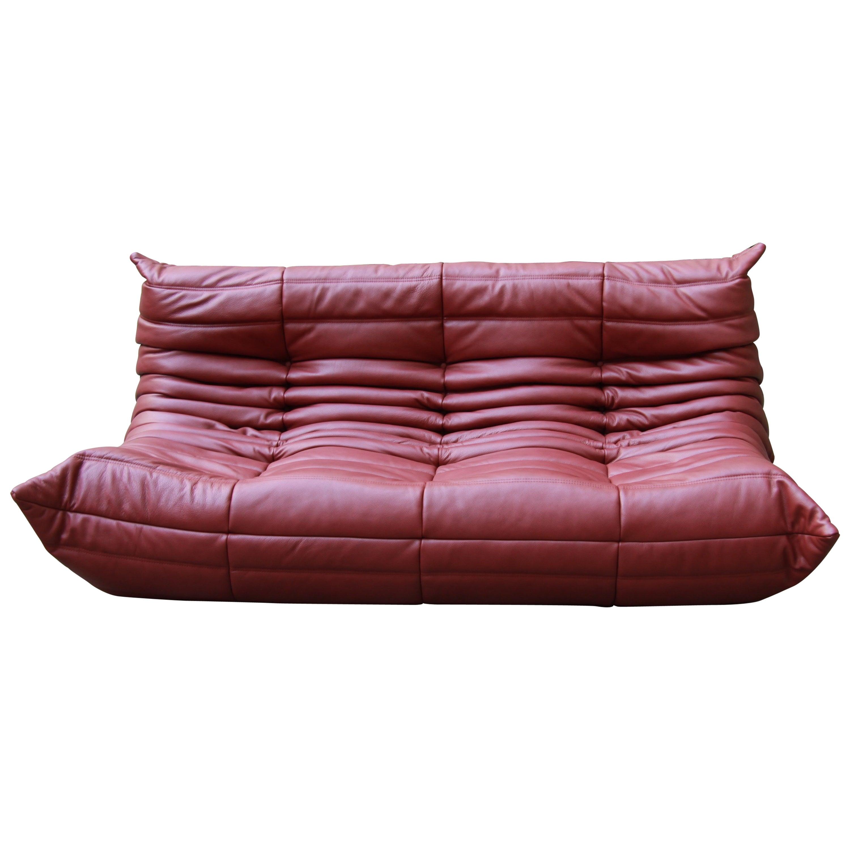 Vintage Burgundy Leather Togo Sofa By Michel Ducaroy For Ligne