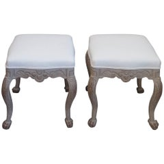 Pair of Antique Swedish Rococo Style Stools
