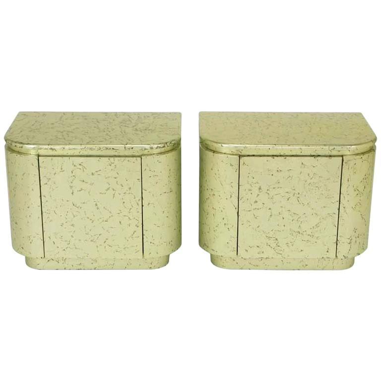 Pair of Champagne Gilt and Flecked Radius Edge Nightstands For Sale