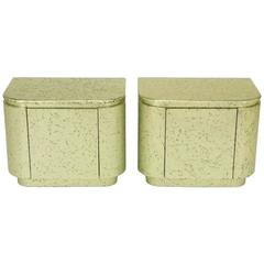 Pair of Champagne Gilt and Flecked Radius Edge Nightstands