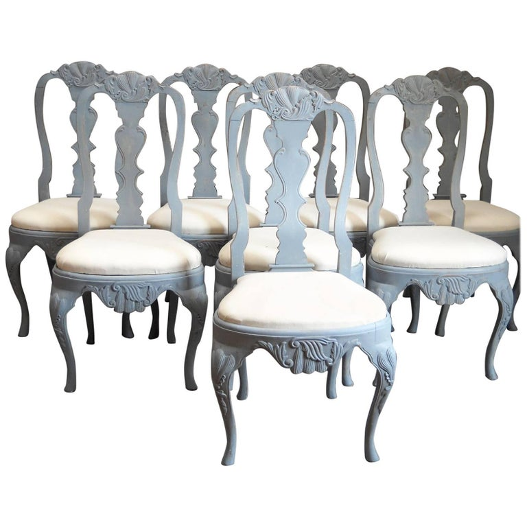 Set of Eight Rococo Style Dining Chairs For Sale