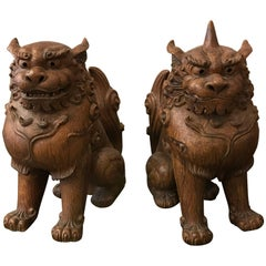 Monumental Pair of Japanese Guardian Dogs