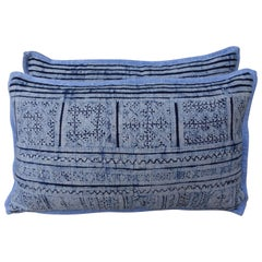 Navy and Light Blue Patterned Batik Pillows, Pair