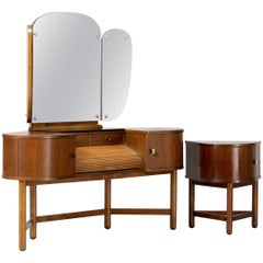 1930s Angle Vanity Table and Its Occasional Table by Martinus Petersen