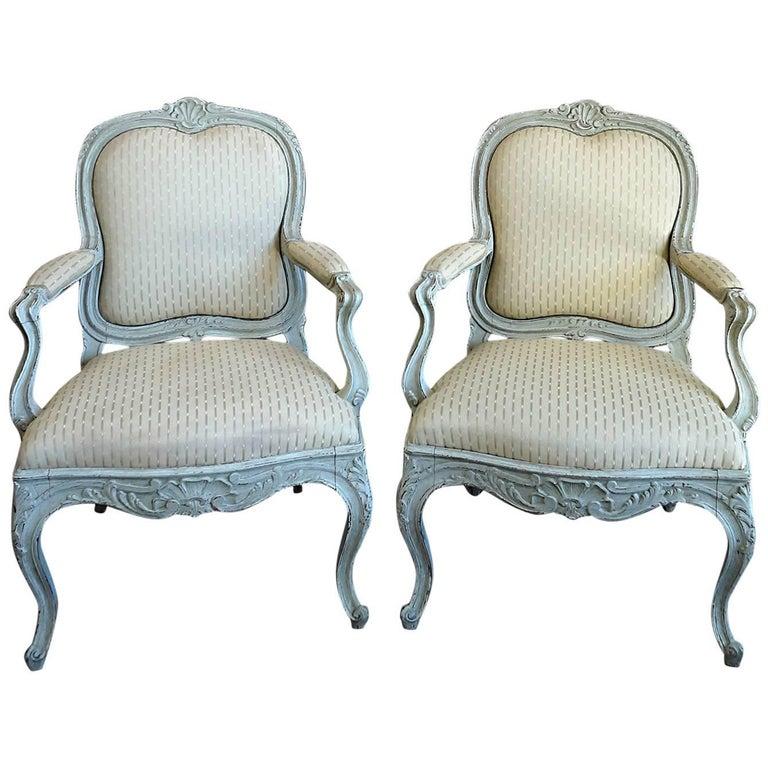 Pair of Rococo Style Swedish Armchairs