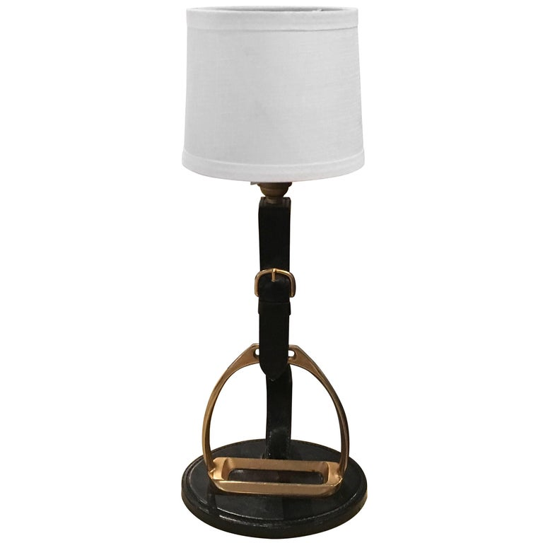 "Jacques Adnet ""Stirrup"" Table Lamp"