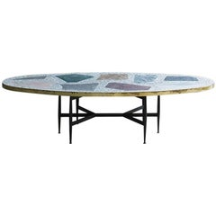 Rooms Terrazzo Colorful Magic Stone Brass Coffee Table