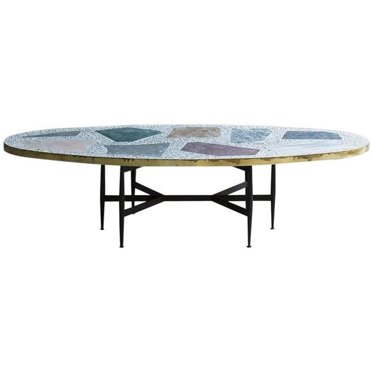 Rooms Terrazzo Colorful Magic Stone Brass Coffee Table For Sale