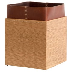 Handmade Leather and Oak Trash Can, ERIK GUSTAFSON