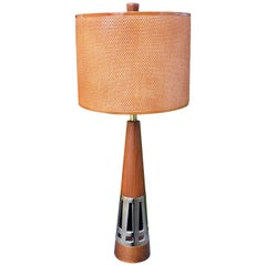 Tony Paul for Westwood Industries Walnut and Brass Lamp with Shade