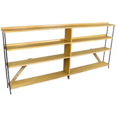 Mid-Century Modern Minimalist Iron and Blonde Oak Bookcase Shelf Room Divider