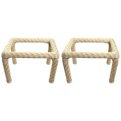 Pair of Woven Wicker Tables