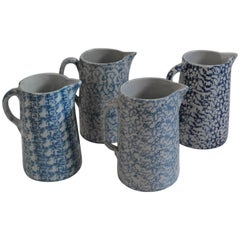 Collection of Four 19th Century Spongeware Pottery Pitchers
