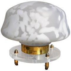 Italian White and Frosted Glass Mushroom Lamp Lucite and Brass Base