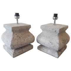 Pair of Castel Style Stone Lamps