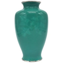 Ando Jubei Green Celadon Wireless Cloisonné Vase, Signed, Vase 1