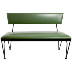 Mid-Century Bench Wrought Iron Frame Vinyl Upholstery