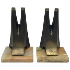 1970s Pair of W. Macowski Modern Sculptural Bookends