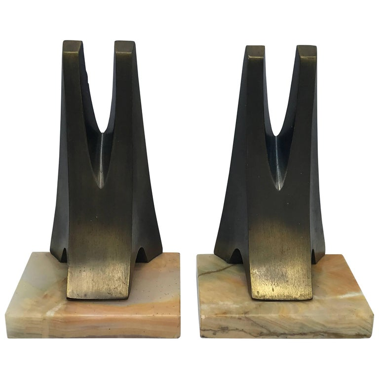 1970s Pair of W. Macowski Modern Sculptural Bookends