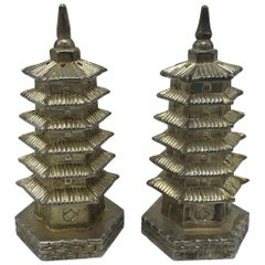 1980s Pagoda Silver Plate Sculptural Salt and Pepper Shakers, Pair