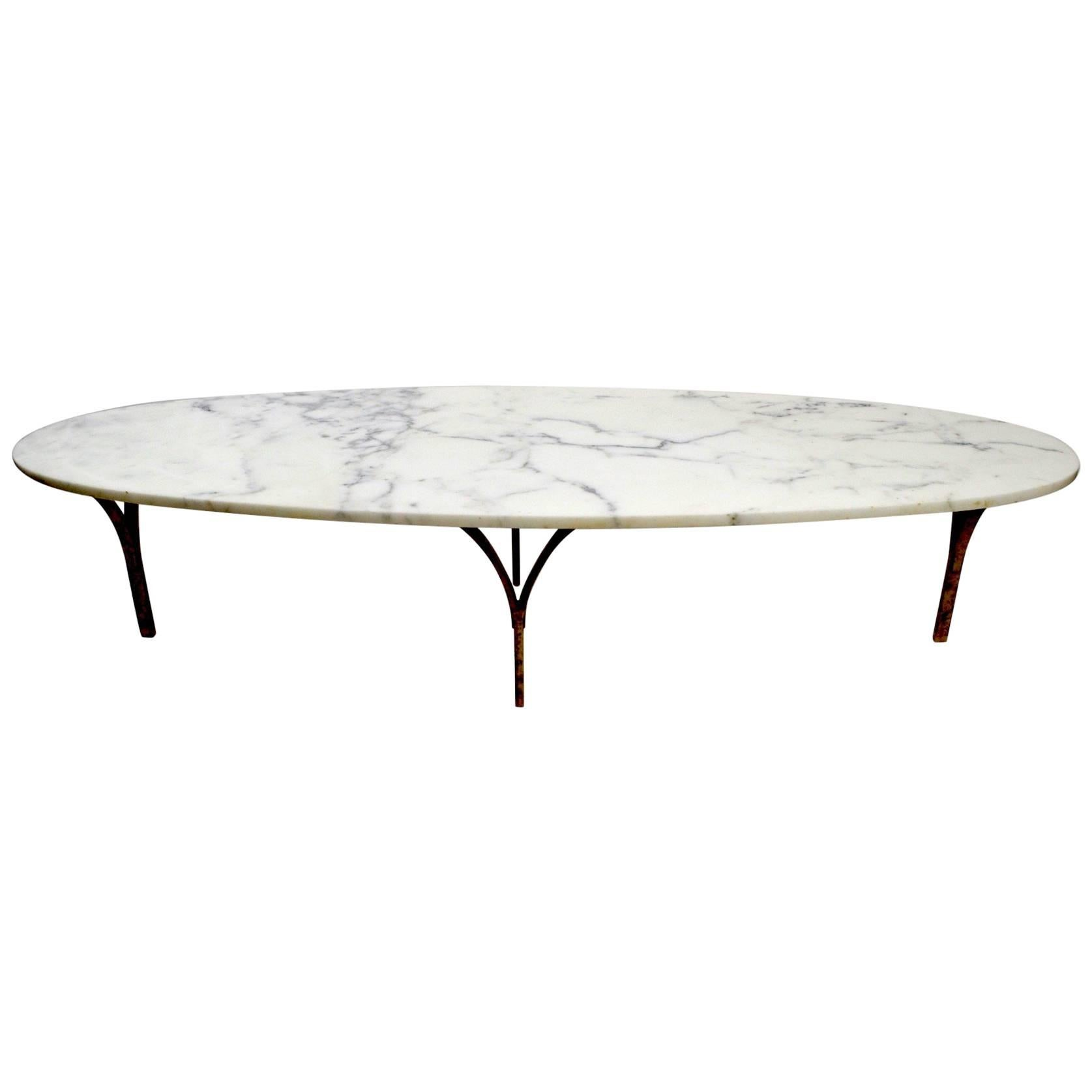 White Marble Top French OverSized Round Wood Coffee Table with