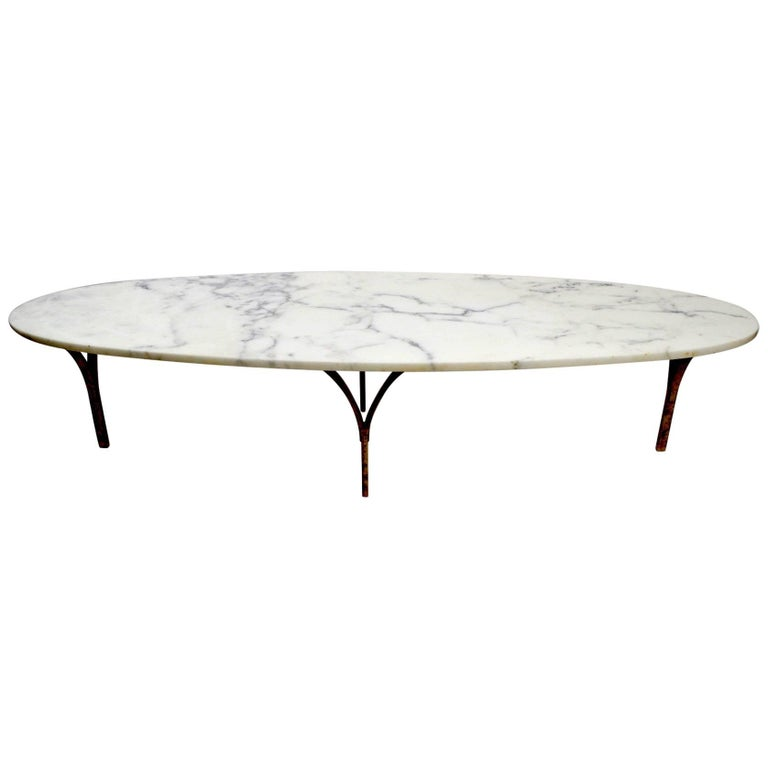 Marble Top Coffee Table Brass Legs: Oval Marble Top Coffee Table With Brass Legs At 1stdibs