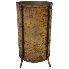 1970s Italian Gilded Faux Bamboo Waste Basket or Cachepot