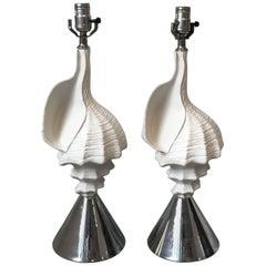 1950s Aluminum and Chrome Seashell Lamps, Pair