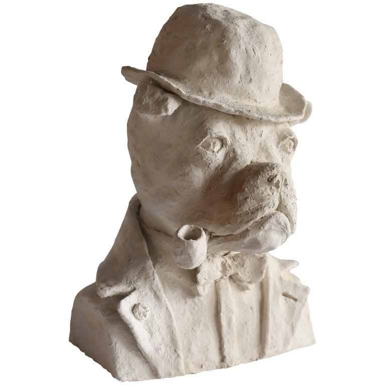 Bust of Pipe-Smoking Bulldog