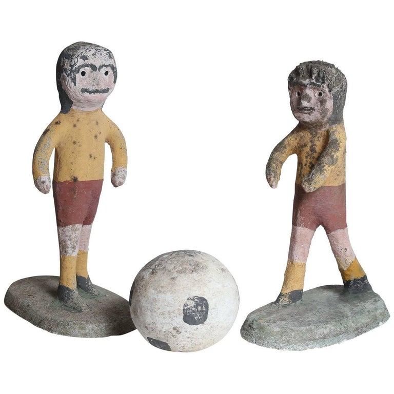 emile taugourdeau cement soccer players at 1stdibs
