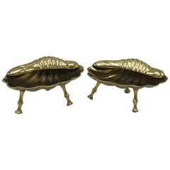 1960s Brass Seashell Catchall Dishes with Faux Bamboo Feet, Pair