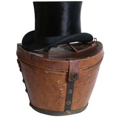 Victorian Leather Hat Box with Top Hat