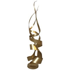 1970s Century Jere Style Gilded Ribbon Sculpture