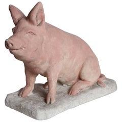 Concrete Pig Sculpture