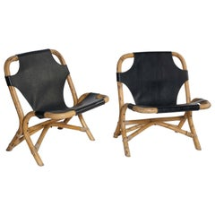Pair of Bamboo and Leather Chairs