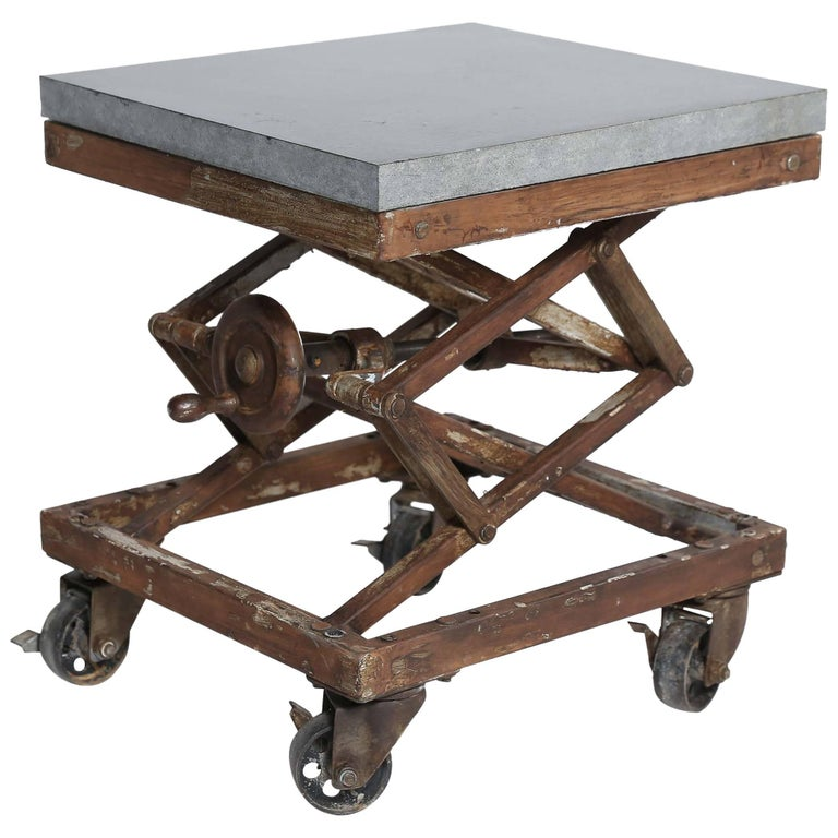 Vintage Industrial Scissor Lift Table At 1stdibs