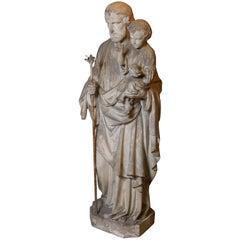 Concrete Statue of Saint Joseph with Baby Jesus