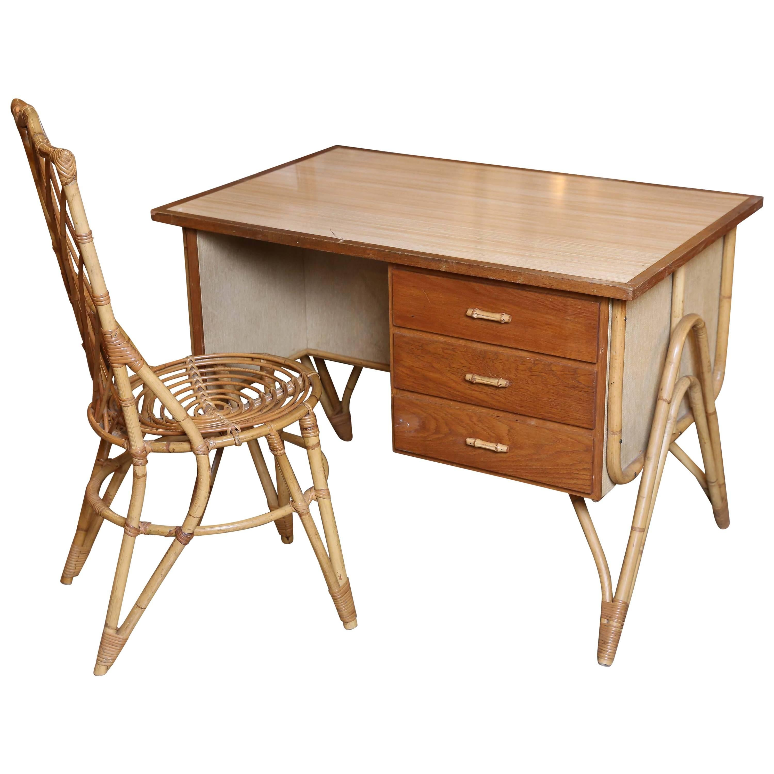 Bamboo Desk and Chair
