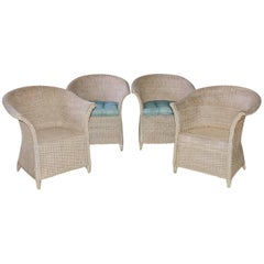 Lloyd Loom Style Wicker Dining Armchairs