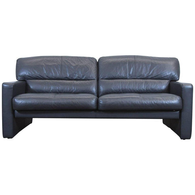 wk wohnen designer sofa black leather three seat couch. Black Bedroom Furniture Sets. Home Design Ideas