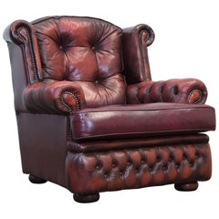 Chesterfield Leather Armchair Red Brown One Seat Chair Couch Vintage Retro