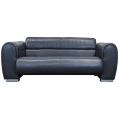 Brühl Sumo Designer Leather Sofa Black Two-seat Couch Modern