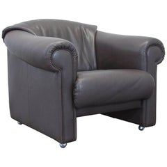 Brühl Designer Leather Armchair Brown One Seat Couch